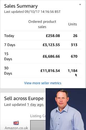 Andrew Minalto shows 30 days worth of Amazon UK FBA sales