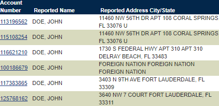 Search results for John Doe using Florida unclaimed money search database