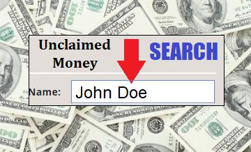 Image example of how to search for unclaimed money. Shows a search area for entering a person's name.