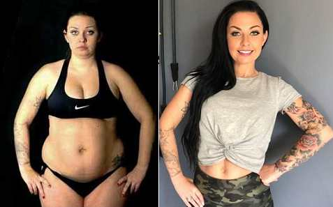 Carly Donovan before and after pictures showing dramatic weight loss.